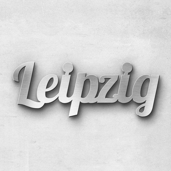 "Schriftzug ""Leipzig"" Edelstahl gebürstet"