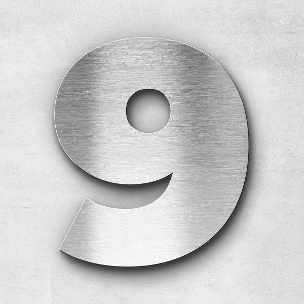 Hausnummer 9 Edelstahl - Serie Kontrast
