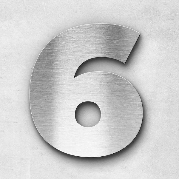Hausnummer 6 Edelstahl - Serie Kontrast