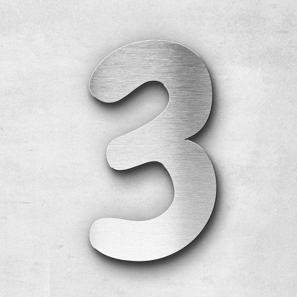 Hausnummer 3 Edelstahl - Serie Darius